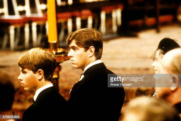 Prince Andrew and Prince Edward attend the funeral of Lord Louis Mountbatten at Westminster Abbey on September 05 1979 in London England