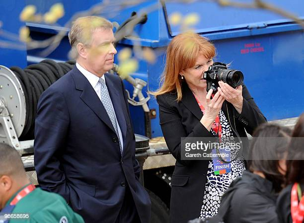 Prince Andrew and Sarah Ferguson attend the Virgin London Marathon on April 25 2010 in London England on April 25 2010 in London England