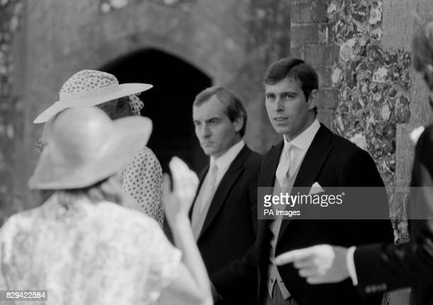Prince Andrew at Highclere Berkshire where he was attending the wedding of the Hon Carolyn Herbert to bloodstock agent John Warren To the left is the...