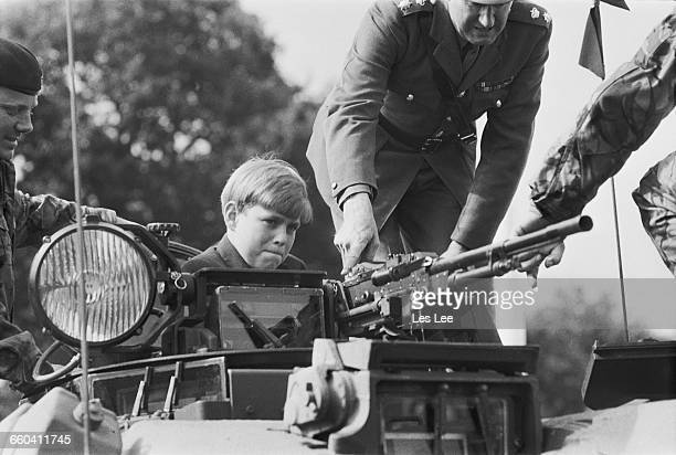 Prince Andrew attends a Battle Royal review of the troops of the Household Division at Long Valley Aldershot UK 9th August 1971
