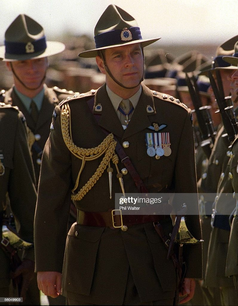 Prince Andrew dressed in the NZ Army uniform inspects the