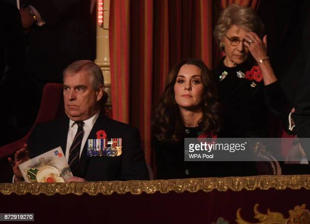 Prince Andrew Duke of York and Catherine Duchess of Cambridge attend the annual Royal Festival of Remembrance to commemorate all those who have lost...