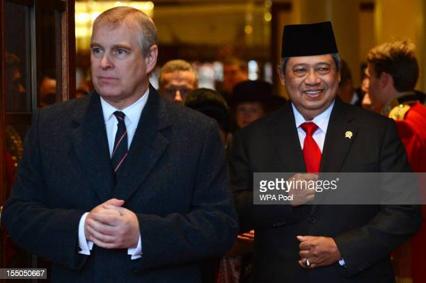 Prince Andrew Duke of York and Indonesian President Susilo Bambang Yudhoyono leave the Grosvenor House Hotel during the President's State Visit on...