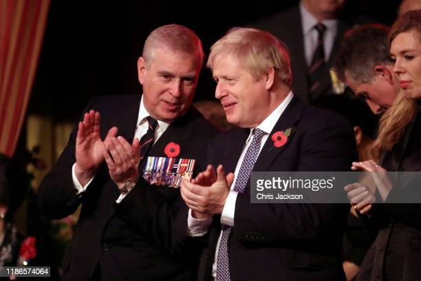 Prince Andrew Duke of York and Prime Minister Boris Johnson attend the annual Royal British Legion Festival of Remembrance at the Royal Albert Hall...