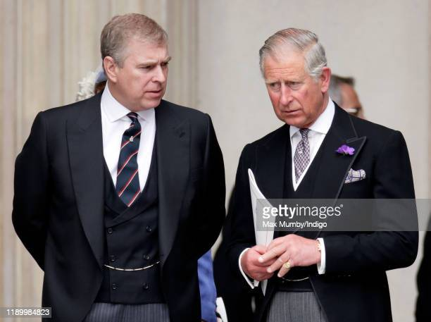 Prince Andrew, Duke of York and Prince Charles, Prince of Wales attend a Service of Thanksgiving to celebrate Queen Elizabeth II's Diamond Jubilee at...
