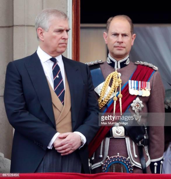 Prince Andrew Duke of York and Prince Edward Earl of Wessex stand on the balcony of Buckingham Palace during the annual Trooping the Colour Parade on...