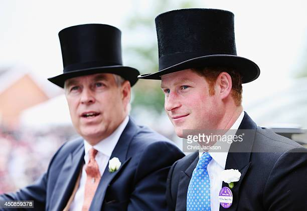 Prince Andrew Duke of York and Prince Harry during the Royal Procession day three of Royal Ascot at Ascot Racecourse on June 19 2014 in Ascot England