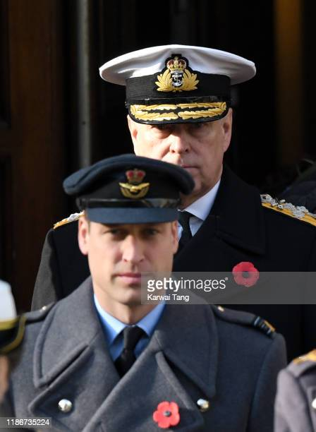 Prince Andrew Duke of York and Prince William Duke of Cambridge attend the annual Remembrance Sunday memorial at The Cenotaph on November 10 2019 in...