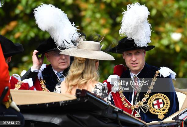 Prince Andrew Duke of York and Prince William Duke of Cambridge attend the Order Of The Garter Service at Windsor Castle on June 18 2018 in Windsor...