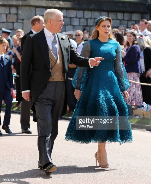 Prince Andrew Duke of York and Princess Beatrice arrive at St George's Chapel at Windsor Castle before the wedding of Prince Harry to Meghan Markle...