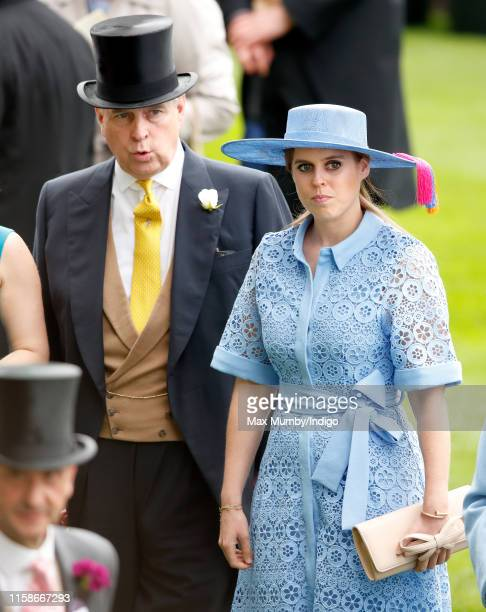Prince Andrew Duke of York and Princess Beatrice attends day one of Royal Ascot at Ascot Racecourse on June 18 2019 in Ascot England