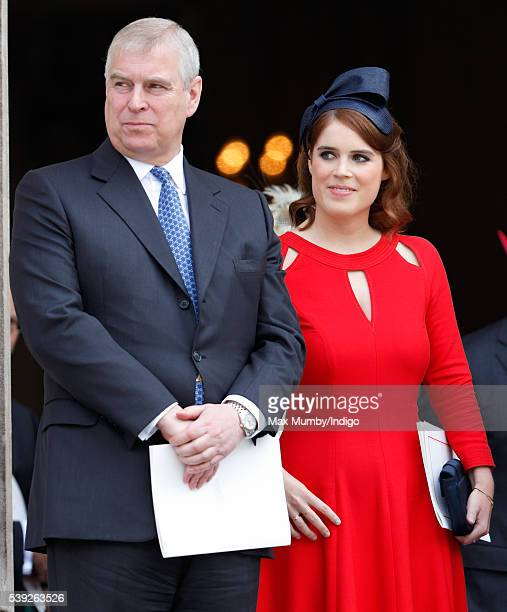 Prince Andrew Duke of York and Princess Eugenie attend a national service of thanksgiving to mark Queen Elizabeth II's 90th birthday at St Paul's...