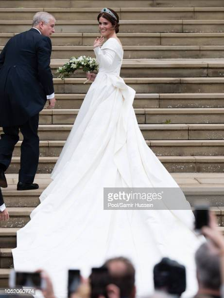 Prince Andrew, Duke of York and Princess Eugenie of York arrives at St George's Chapel in Windsor Castle ahead of her wedding with Jack Brooksbank at...