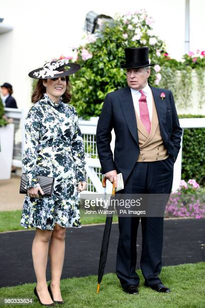 Prince Andrew Duke of York and Princess Eugenie of York during day three of Royal Ascot at Ascot Racecourse