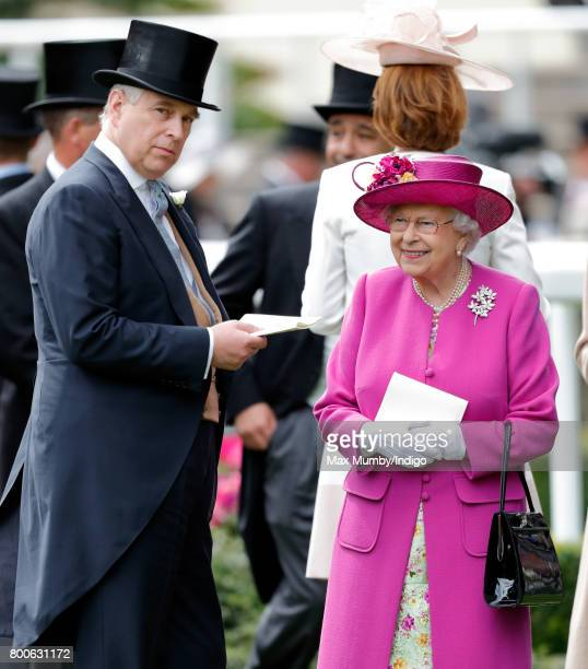 Prince Andrew Duke of York and Queen Elizabeth II attend day 5 of Royal Ascot at Ascot Racecourse on June 24 2017 in Ascot England