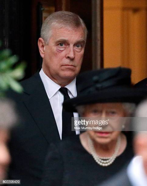 Prince Andrew Duke of York and Queen Elizabeth II attend the funeral of Patricia Knatchbull Countess Mountbatten of Burma at St Paul's Church...