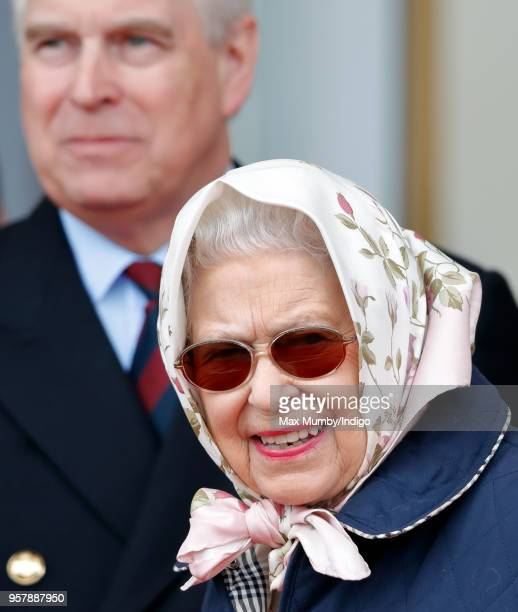 Prince Andrew Duke of York and Queen Elizabeth II attend the Royal Windsor Endurance event in Windsor Great Park on day 3 of the Royal Windsor Horse...