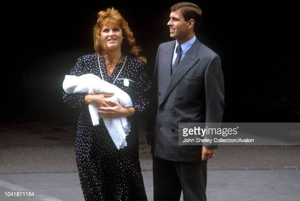 Prince Andrew, Duke of York, and Sarah, Duchess of York, leave Portland Hospital, London, with their newborn daughter Princess Beatrice, 12th August...