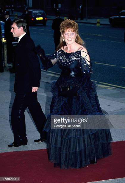 Prince Andrew Duke of York and Sarah Duchess of York pregnant with their first daughter Beatrice attend a gala charity performance of Barry...