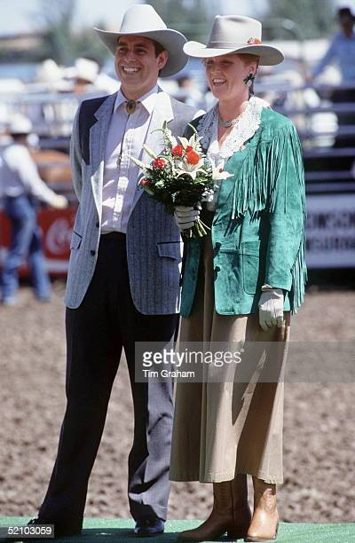 Prince Andrew, Duke Of York And Sarah Duchess Of York Wearing Stetsons And Cowboy Outfits For A Visit To Medicine Hat, Canada.