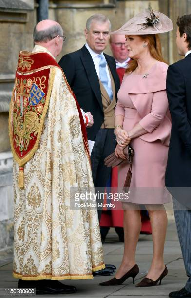 Prince Andrew Duke of York and Sarah Ferguson Duchess of York attend the wedding of Lady Gabriella Windsor and Thomas Kingston at St George's Chapel...