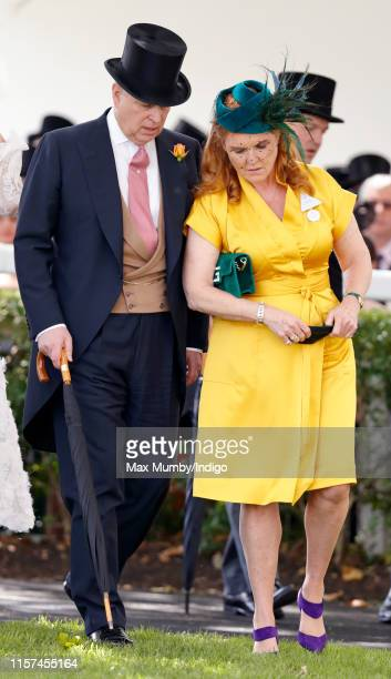 Prince Andrew, Duke of York and Sarah Ferguson, Duchess of York attend day four of Royal Ascot at Ascot Racecourse on June 21, 2019 in Ascot, England.