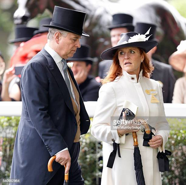Prince Andrew Duke of York and Sarah Ferguson Duchess of York attend day 4 of Royal Ascot at Ascot Racecourse on June 17 2016 in Ascot England