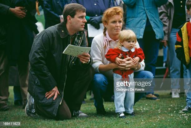 Prince Andrew Duke of York and Sarah Ferguson Duchess of York with their daughter Princess Beatrice of York at the Royal Windsor Horse Show 12th May...