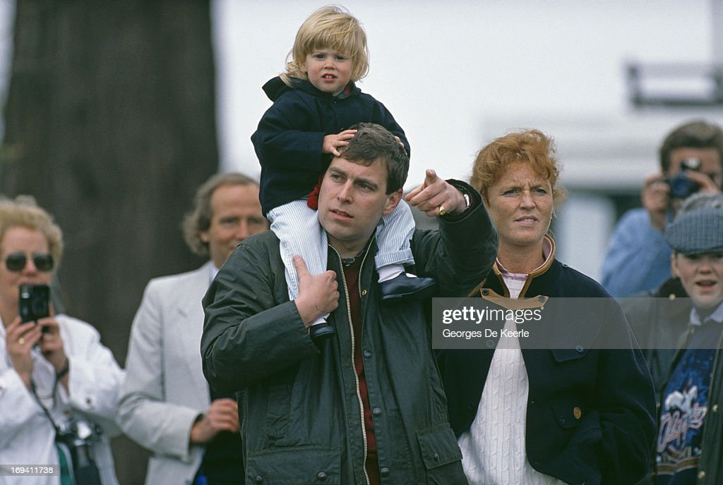 Prince Andrew, Duke of York and Sarah Ferguson, Duchess of York with their daughter Princess Beatrice of York at the Royal Windsor Horse Show, 12th May 1990.