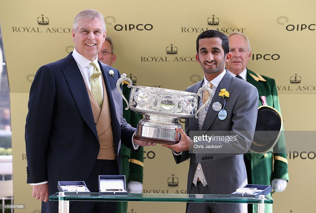 Prince Andrew, Duke of York and Sheikh Rashid Bin Dalmook Al Maktoum during day four of Royal Ascot 2014 at Ascot Racecourse on June 20, 2014 in Ascot, England.