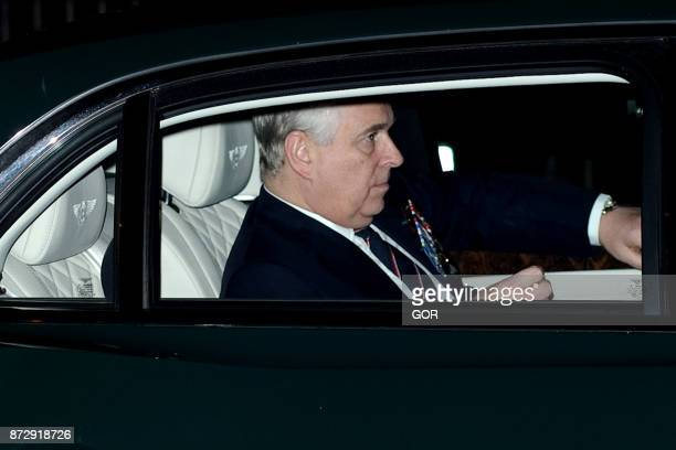 Prince Andrew Duke of York arrives at the annual Royal Festival of Remembrance to commemorate all those who have lost their lives in conflicts at the...