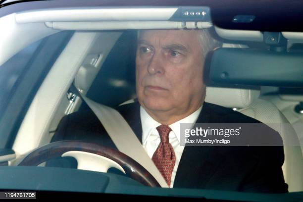 Prince Andrew Duke of York attends a Christmas lunch for members of the Royal Family hosted by Queen Elizabeth II at Buckingham Palace on December 18...