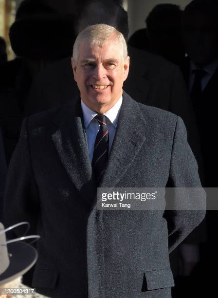 Prince Andrew Duke of York attends church in Hillington at St Mary the Virgin church in Sandringham on January 19 2020 in King's Lynn England