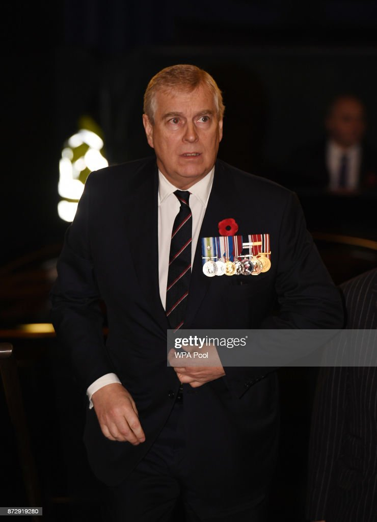 Prince Andrew, Duke of York attends the annual Royal Festival of Remembrance to commemorate all those who have lost their lives in conflicts at the Royal Albert Hall on November 11, 2017 in London, England.