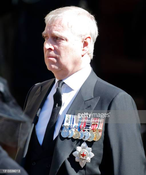 Prince Andrew, Duke of York attends the funeral of Prince Philip, Duke of Edinburgh at St. George's Chapel, Windsor Castle on April 17, 2021 in...