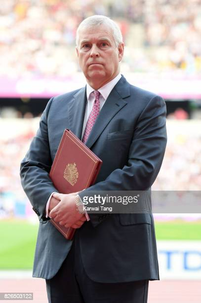 Prince Andrew Duke of York attends the IAAF World Athletics Championships at the London Stadium on August 4 2017 in London United Kingdom