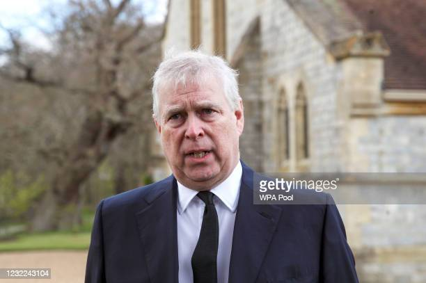 Prince Andrew, Duke of York, attends the Sunday Service at the Royal Chapel of All Saints, Windsor, following the announcement on Friday April 9th of...