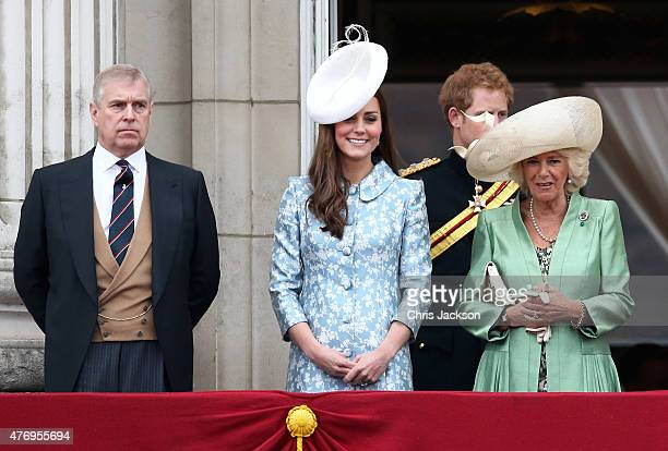Prince Andrew Duke of York Catherine Duchess of Cambridge and Camilla Duchess of Cornwall stand on the balcony of Buckingham Palace following the...