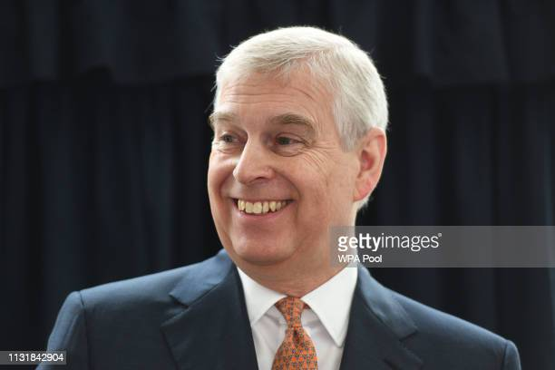 Prince Andrew Duke of York during a visit to the Royal National Orthopaedic Hospital to open the new Stanmore Building on March 21 2019 in Stanmore...