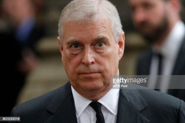Prince Andrew Duke of York leaves the funeral service of Patricia Knatchbull Countess Mountbatten of Burma at St Paul's Church in Knightsbridge on...