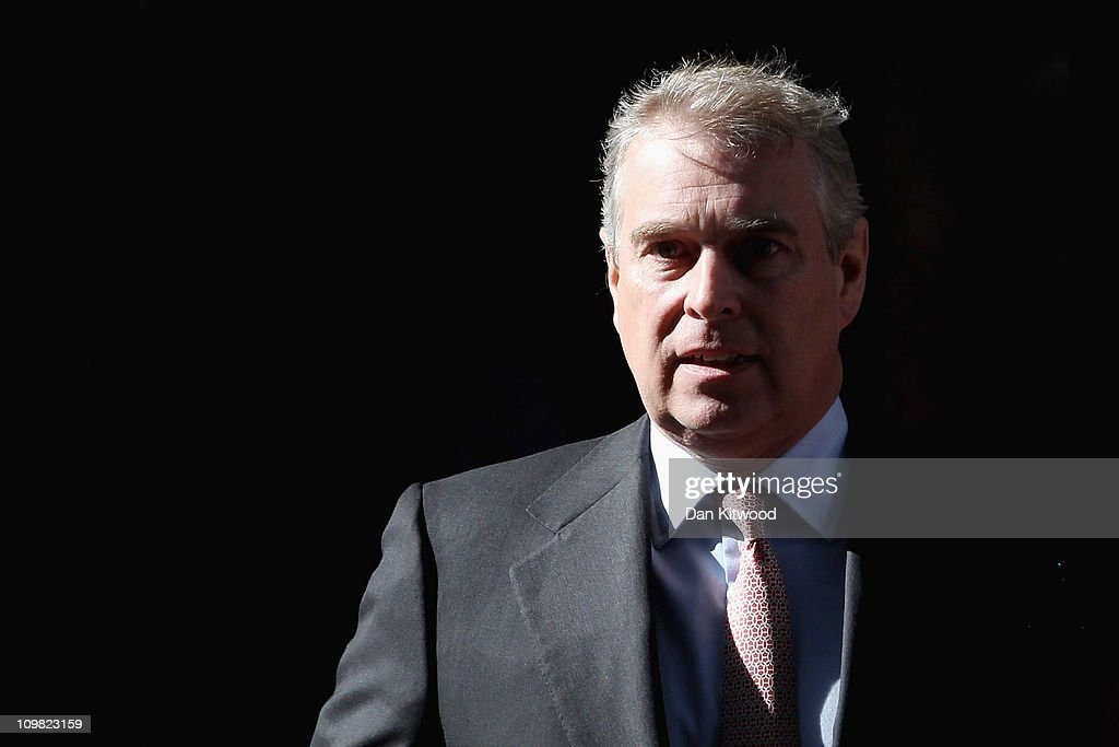 Prince Andrew, Duke of York leaves the headquarters of Crossrail at Canary Wharf on March 7, 2011 in London, England. Prince Andrew is under increasing pressure after a series of damaging revelations about him surfaced, including criticism over his friendship with convicted sex offender Jeffrey Epstein, an American financier.