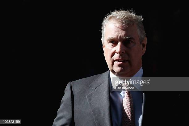 Prince Andrew Duke of York leaves the headquarters of Crossrail at Canary Wharf on March 7 2011 in London England Prince Andrew is under increasing...