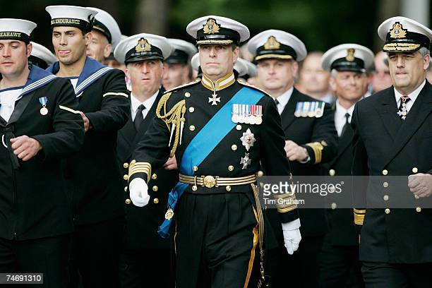 Prince Andrew Duke of York marches with the Royal Navy's Fleet Air Arm which was the division he served in during the war at the Falklands Veterans...