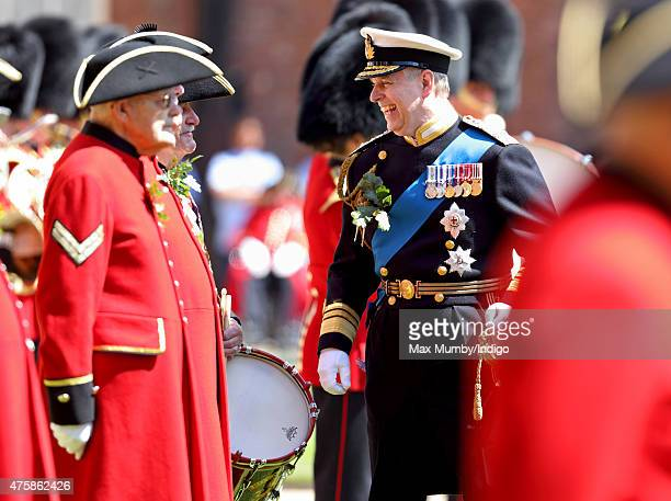 Prince Andrew Duke of York meets Chelsea Pensioners as he attends the annual Founder's Day Parade at the Royal Hospital Chelsea on June 4 2015 in...