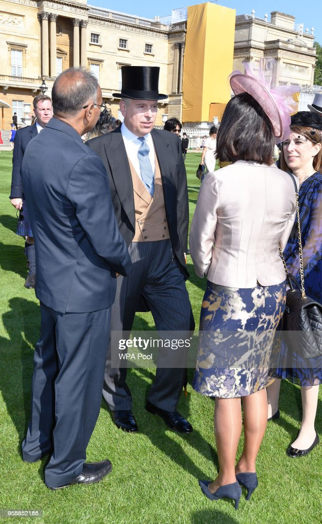 Prince Andrew, Duke of York meets guests during a garden party at Buckingham Palace on May 15, 2018 in London, England.