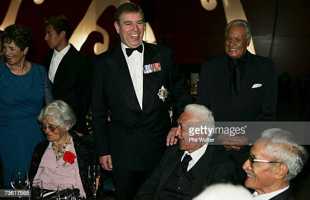 Prince Andrew Duke of York meets war veterans at the gala dinner in honour of the members of the 28th Maori Battalion at the Energy Events Centre on...