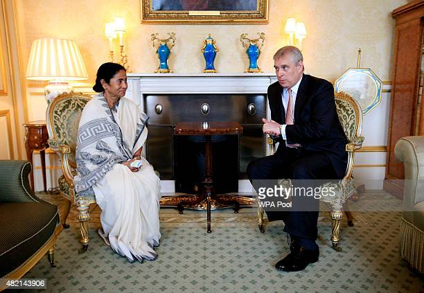 Prince Andrew, Duke of York meets with West Bengal Chief Minister Mamata Banerjee before hosting a tea for those responsible for assisting with the...