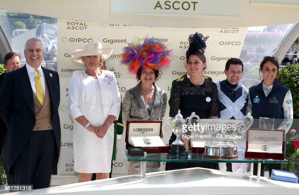 Prince Andrew Duke of York presents the trophies to Jockey Colm O'Donoghue trainer Jessica Harrington and owners the Niarchos Family after winning...