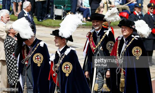 Prince Andrew Duke of York Prince Edward Earl of Wessex King Felipe of Spain and King WillemAlexander of the Netherlands attend the Order of the...