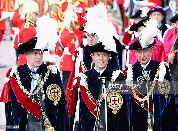 Prince Andrew Duke of York Prince Edward Earl of Wessex Prince William Duke of Cambridge and Prince Charles Prince of Wales attend the Order of the...